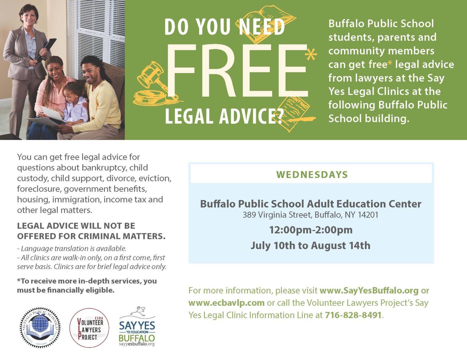 Say Yes Legal Clinics (Buffalo Public Schools) | ECBA Volunteer